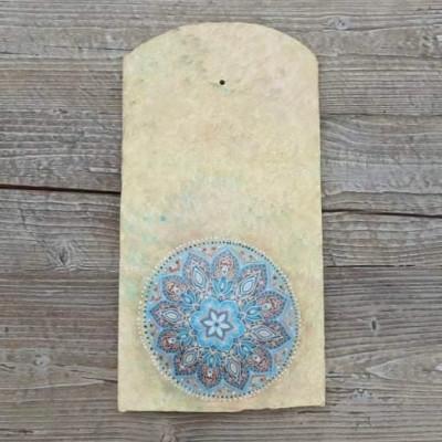 Díszített tetőcserép, kék Mandala